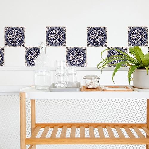 Sticker adhésif ciment marine pour décoration carrelage blanc pour salle à manger