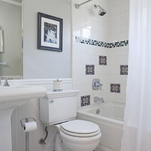 Adhésif décoration ciment marine pour carrelage blanc de salle de bain