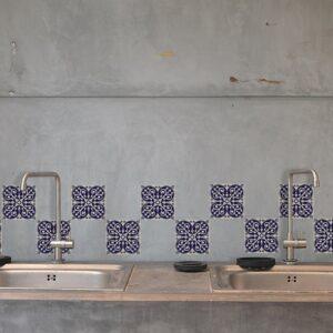 Autocollant décoration pour carrelage blanc ciment marine pour cuisine