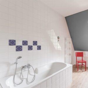 Sticker autocollant déco ciment marine pour carrelage blanc de salle de bain