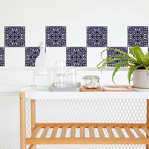 Adhésif ciment marine pour décoration carrelage blanc de salle à manger