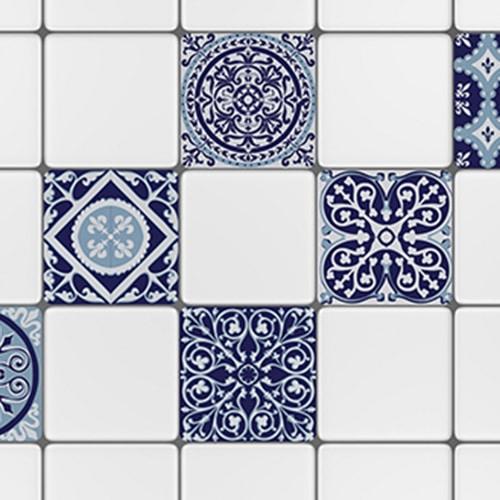 Sticker adhésif décoration carrelage blanc ciment gris bleu pour cuisine
