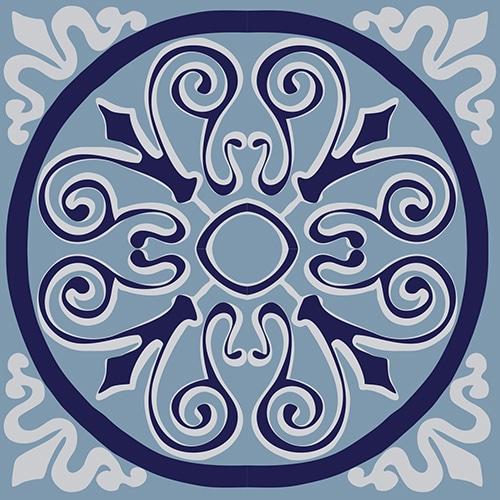 Sticker adhésif ciment gris bleu rond pour déco carrelage