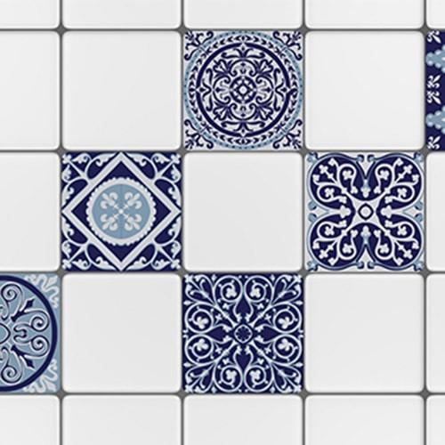 Sticker adhésif décoration ciment gris bleu rond pour carrelage blanc de cuisine