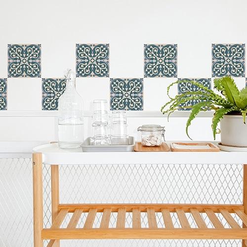 Sticker adhéif déco ciment vert gris et vert pour carrelage blanc de salle à manger