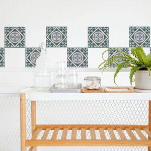 Autocollant décoration ciment vert pour carrelage blanc de salle à manger
