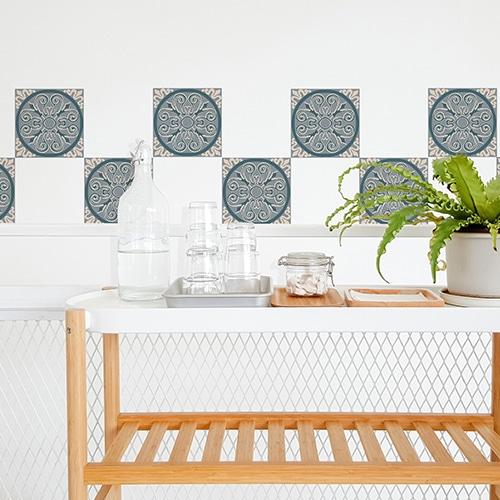 Autocollant ciment vert pour décoration de carrelage blanc de salle à manger