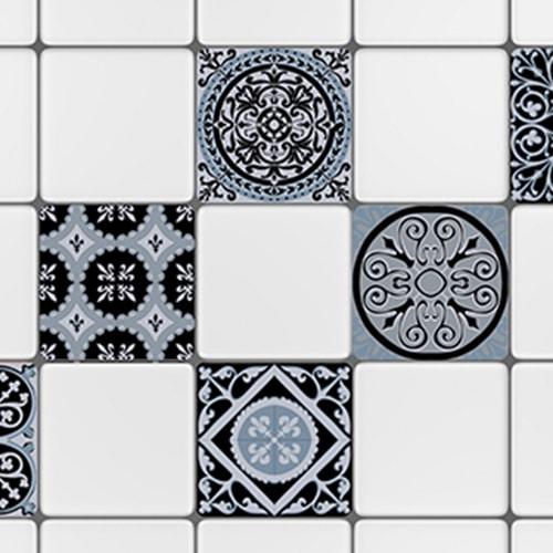Sticker adhésif ciment bleu charbon pour déco carrelage blanc de cuisine