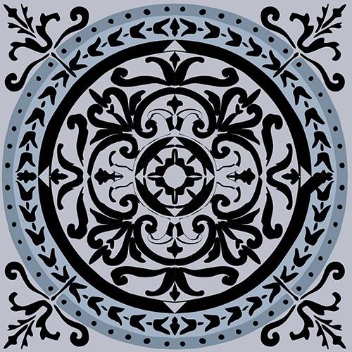 Sticker déco ciment bleu charbon pour carrelage