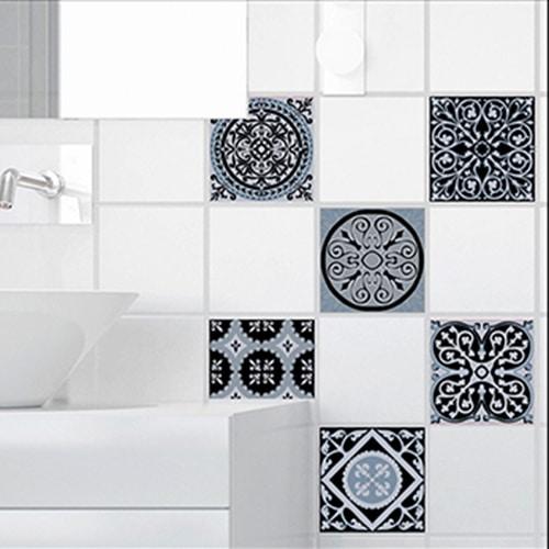 Sticker adhésif déco carrelage blanc ciment bleu charbon pour salle de bain