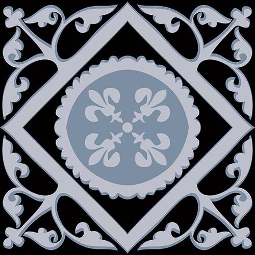 Sticker ciment bleu charbon pour déco carrelage