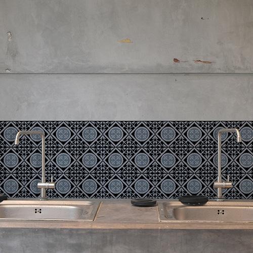 Adhésif décoration carrelage béton gris ciment bleu charbon pour cuisine