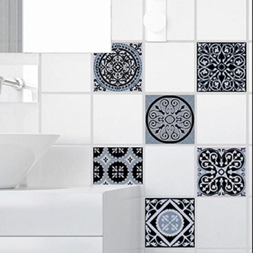 Sticker autocollant ciment bleu charbon pour déco carrelage blanc de salle de bain