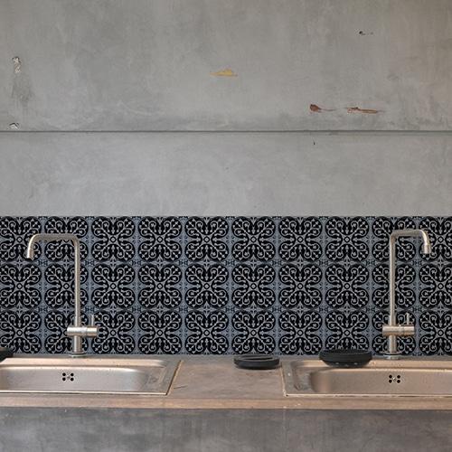 Autocollant décoration ciment bleu charbon noir pour carrelage de béton gris de cuisine