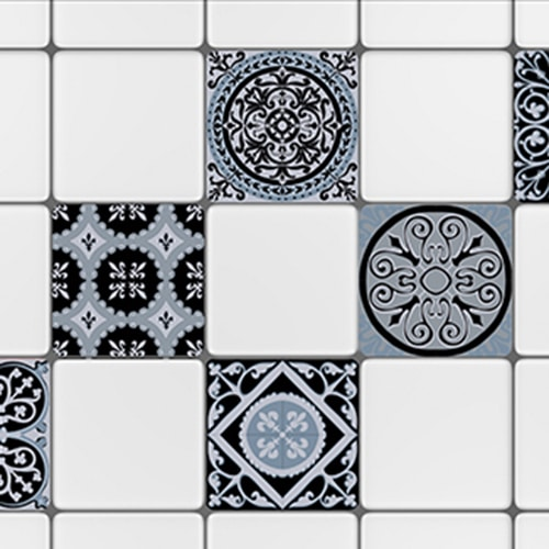 Sticker adhésif déco de carrelage blanc ciment bleu charbon noir pour cuisine