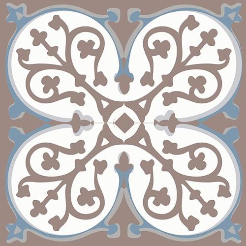 Sticker adhésif ciment grece marron et bleu pour déco de carrelage