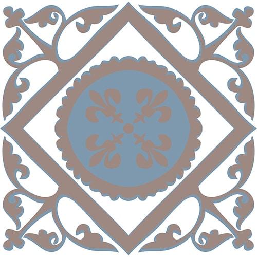 Stiker autocollant ciment grece marron, bleu et blanc pour déco de carrelage