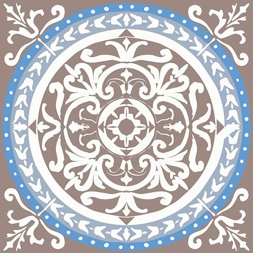 Sticker adhésif déco ciment grece marron et bleu pour carrelage
