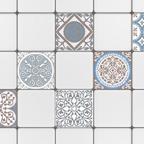 Sticker adhésif décoration carrelage blanc ciment grece marron et bleu pour cuisine