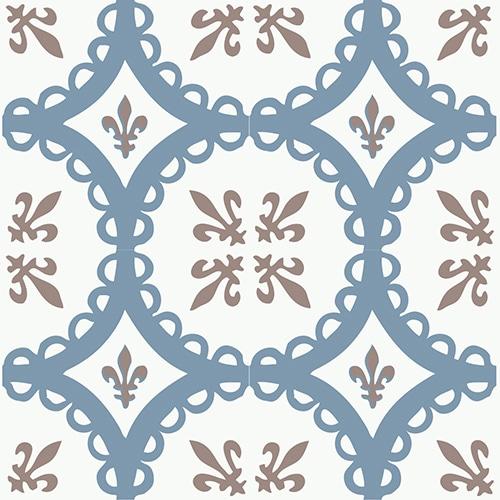 Sticker autocollant ciment grece bleu,marron et blanc pour déco carrelage