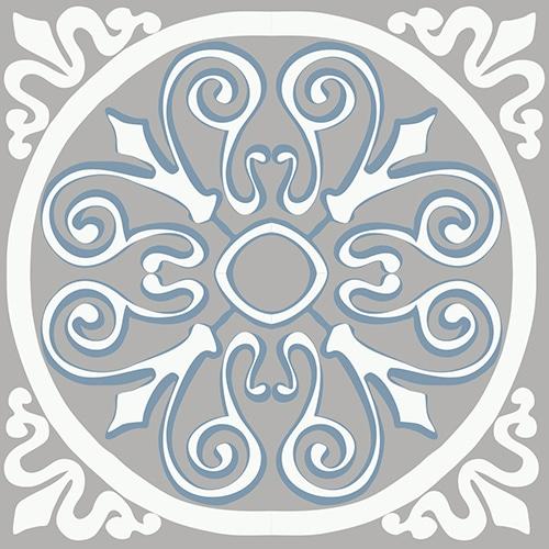 Sticker adhésif ciment grece blanc, beige et bleu pour décoration de carrelage