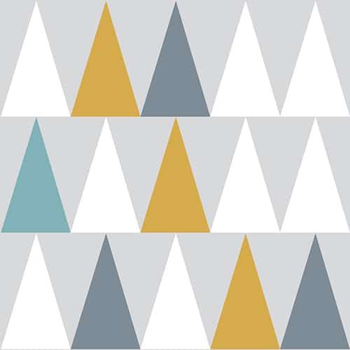 Sticker adhésif scandinave lichen triangles blanc, bleu, jaune et gris pour déco de carrelage