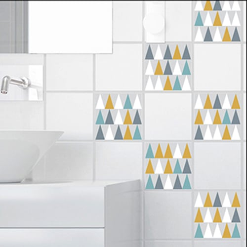 Sticker autocollant décoration carrelage blanc scandinave lichen triangles blanc, bleu, jaune et gris pour salle de bain
