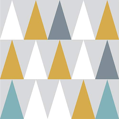 Sticker autocollant scandinave lichen triangles jaune, blanc, bleu et gris pour déco de carrelage