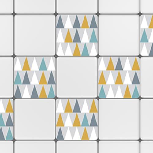 Sticker adhésif déco carrelage blanc scandinave lichen triangles jaune, blanc, bleu et gris pour cuisine