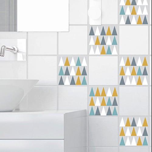 Adhésif déco carrelage blanc scandinave lichen triangles de couleurs pour salle de bain