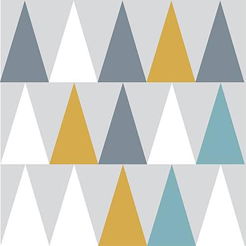 Sticker scandinave lichen triangles de couleurs jaune, blanc, gris et bleu pour décoration de carrelage