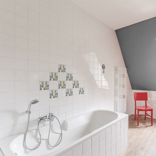 Autocollant décoration scandinave lichen triangles de couleurs pour carrelage blanc de salle de bain