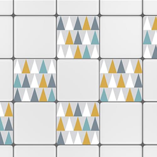 Sticker autocollant déco scandinave lichen triangles de couleurs pour carrelage blanc de cuisine