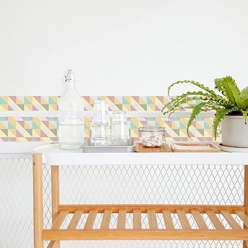 Autocollant scandinave lichen triangles colorés pour décoration de carrelage blanc de salle à manger