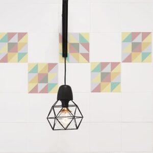 Autocollant scandinave couleurs pastel pour décoration de carrelage blanc de cuisine