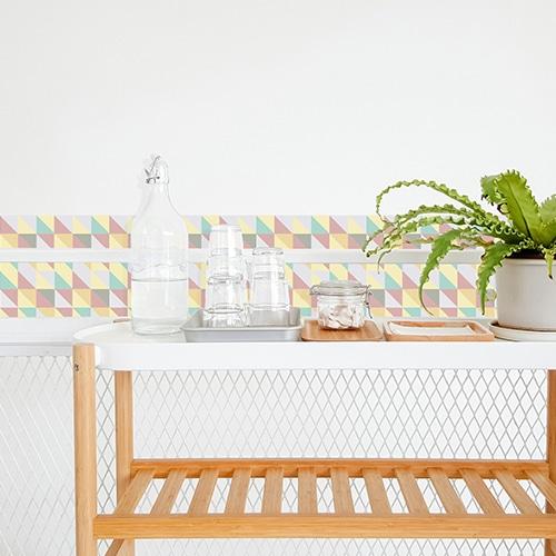 Adhésif décoration carrelage scandinave pastel pour salle à manger
