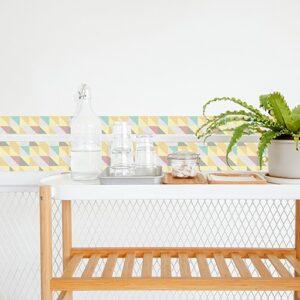 Adhésif déco effet scandinave pastel pour carrelage blanc pour salle à manger