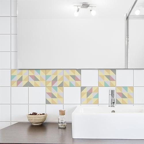 Autocollant déco carrelage blanc effet scandinave pastel pour salle de bain