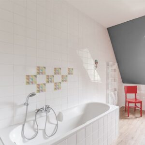 Autocollant pour décoration carrelage blanc effet scandinave de couleur pastel pour salle de bain