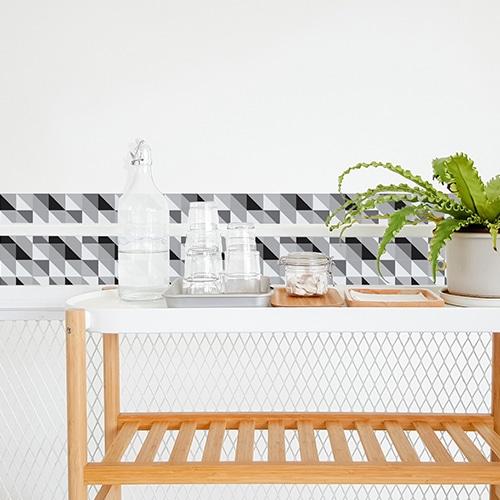 Adhésif déco carrelage blanc scandinave noir et blanc pour décoration de salle à manger