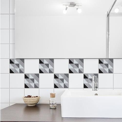 Stickers autocollant scandinave noir et blanc pour déco carrelage blanc de salle de bain
