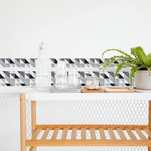 Autocollant scandinave noir et blanc pour décoration carrelage blanc de salle à manger