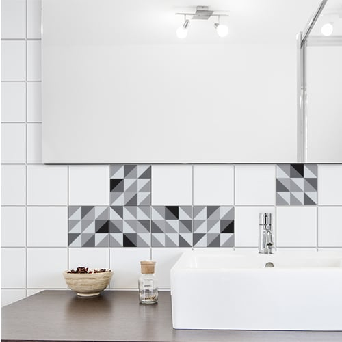 Stickers adhésif effet scandinave noir et blanc pour décoration carrelage blanc de salle de bain