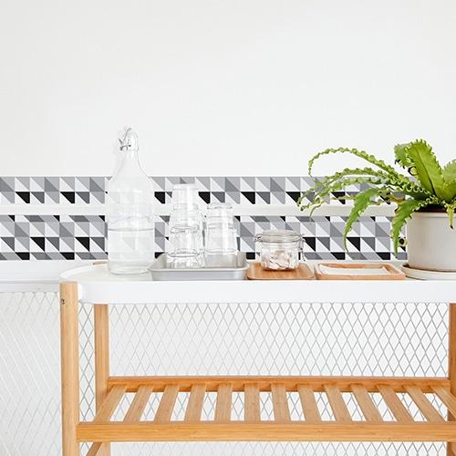 Adhésif scandinave noir et blanc pour déco de carrelage blanc pour salle à manger