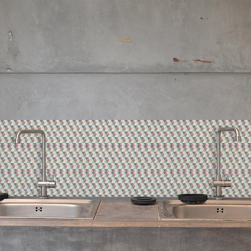 Adhésif déco carrelage béton gris scandinave kaléiodscope déco pour cuisine