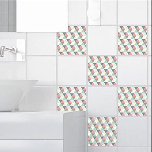 Stickers adhésif scandinave kaléiodscope déco pour carrelage blanc de salle de bain