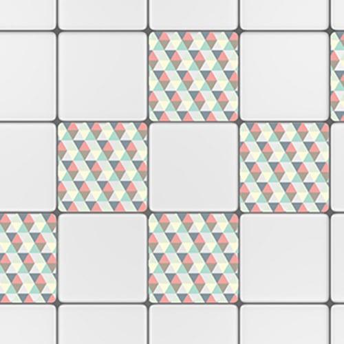 Stickers autocollant scandinave kaléiodscope décoration pour carrelage blanc de cuisine