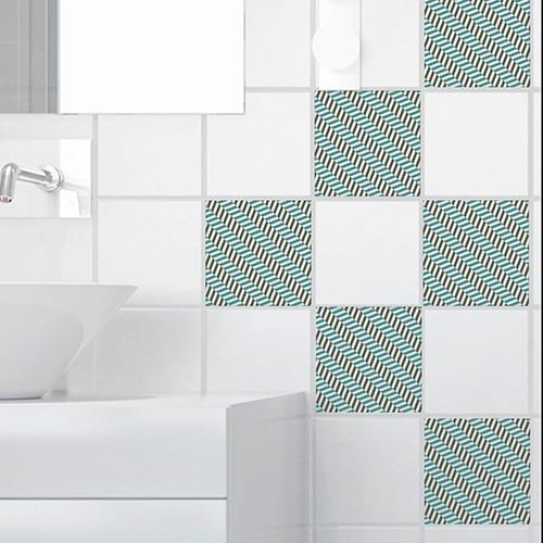 Stickers adhésifs pour carrelage déco effet Chevrons pour salle de bain