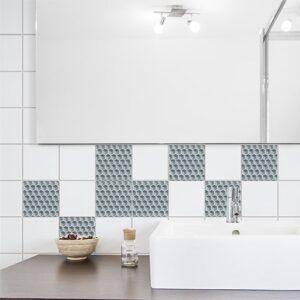 Adhésif décoration Nid d'abeille gris pour carrelage d'intérieur de salle de bain