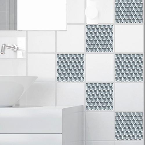 Stickers autocollant déco Nid d'abeille pour carrelage blanc de salle de bain